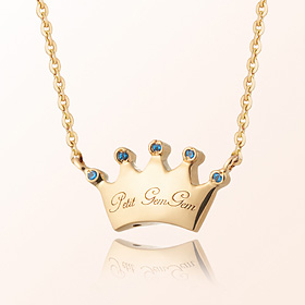 Plump crown birthstone anti-lost gold necklace