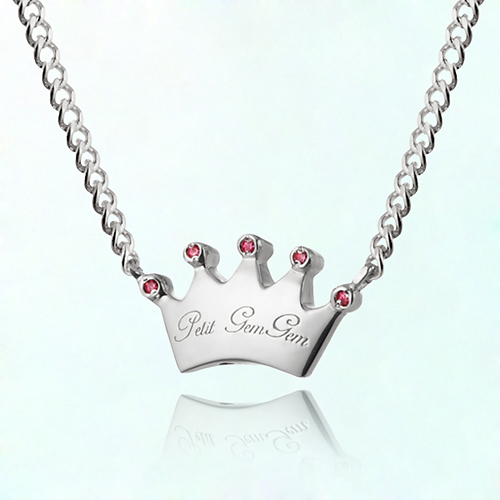Plump crown birthstone Prevent badminton silver necklace