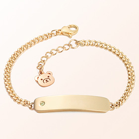 Simple Bar Birthstone Prevent Gold Bracelet