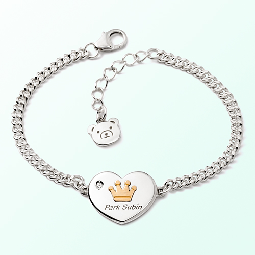 Heart Coin Crown Prevention Silver Bracelet
