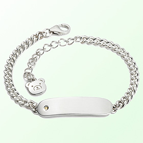 Simple bar birthstone anti anti-silver bracelet
