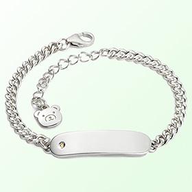 Simple bar birthstone anti anti-silver bracelet
