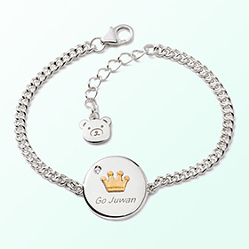 Coin crown prevent silver bracelet