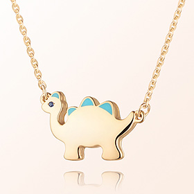 Dinosaur Boy (Blue) Prevention Gold Necklace