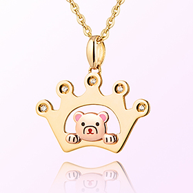 birthstone crown Petite Bear Prevention Gold Necklace