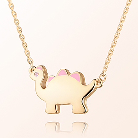 Dinosaur Girl (Pink) Prevention Gold Gold Necklace