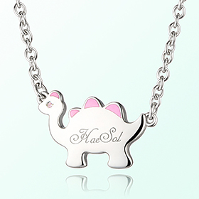 Dinosaur Girl (Pink) Prevent Blackout Silver Necklace