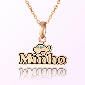 Airplane English Initials Medal Prevention Mia Gold Necklace