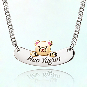 Eustom Petit Bear Character Preventing Prevention Silver Necklace