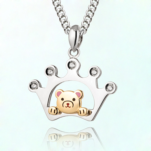 birthstone crown Petite Bear Prevention Silver Necklace