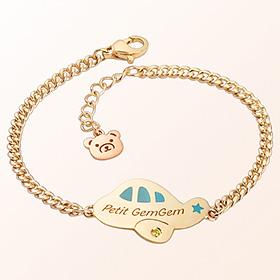 Petit Airplane (Blue) Prevention Gold Bracelet