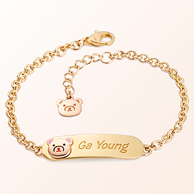 simple petit bear character child gold bracelet