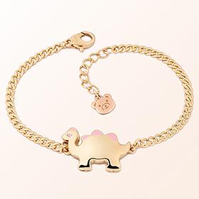 Dinosaur Girl (Pink) Gold Bracelet to prevent mischief