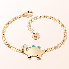 Dinosaur Boy (Blue) Prevention Gold Bracelet