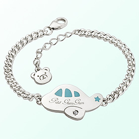 Petit Airplane (Blue) Prevention of blackout Silver Bracelet