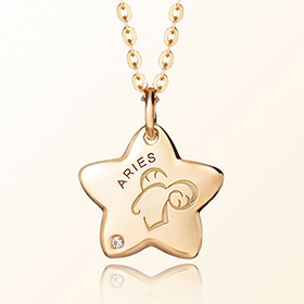 aries Prevent Black Gold Necklace