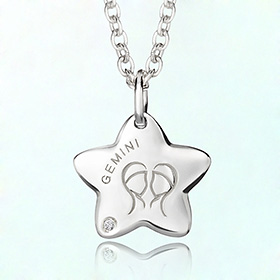 gemini anti-lost silver necklace