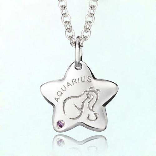 aquarius anti-lost silver necklace