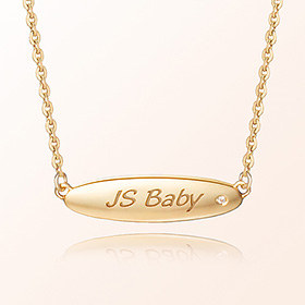 [Baby] ellipse volume bar prevention gold necklace
