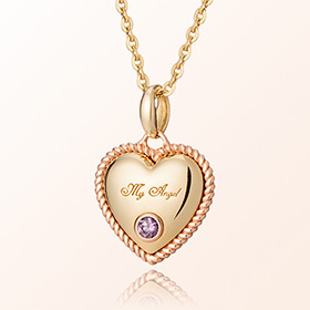 Volume Heart Amethyst February birthstone anti-lost gold necklace