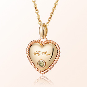 Heart Heart citrine (citrine) November Prevent birthstone gold necklace