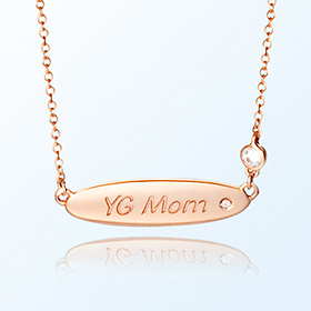 [mom] ellipse volume bar gold necklace