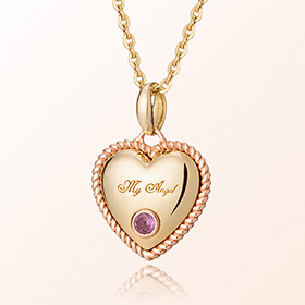 Volume Heart pink toumarine October birthstone anti-lost gold necklace