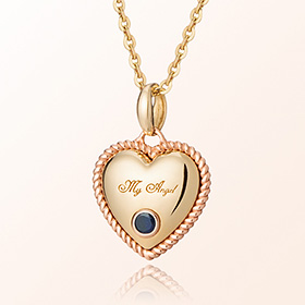Sapphire heart necklace gold birthstone for the prevention of birthstone September