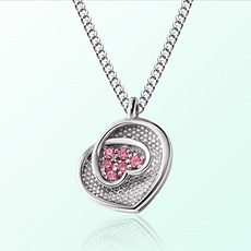 [Baby] Heart Flower Prevention Silver Necklace