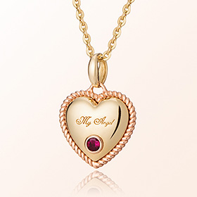 Birthstone ruby ​​heart necklace anti-lost gold necklace July