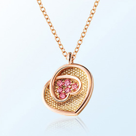 [mom] heart flower gold necklace