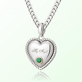 Emerald Silver Heart Necklace Prevent birthstone birthstone May