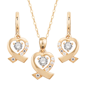 14K / 18K Cross Heart (Necklace + earring) set