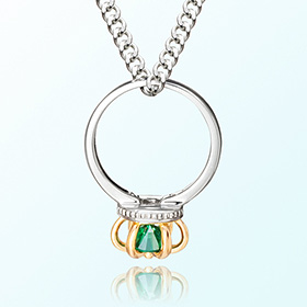 Emerald crown ring silver necklace anti-birthstone birthstone May