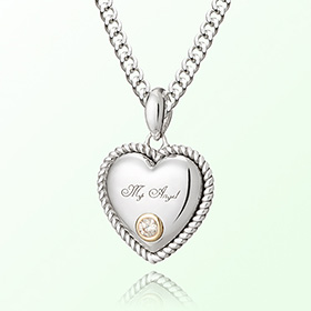 Volume heart whitecubic April birthstone anti-lost silver necklace