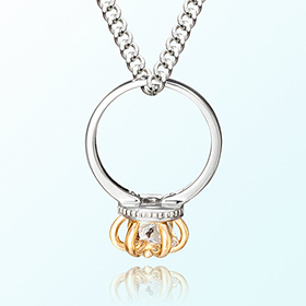 Crown ring whitecubic April birthstone anti-lost silver necklace