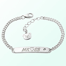 [Baby] simple key point silver bracelet to prevent mischief