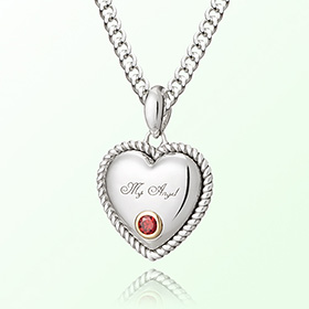 Prevent birthstone silver necklace garnet January Volume Heart