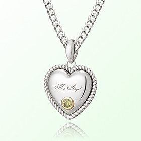 Heart Heart citrine (Citrine) Prevent birthstone silver necklace November
