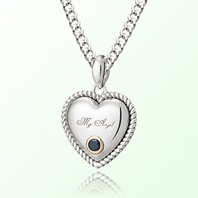 Sapphire heart necklace Prevent birthstone silver necklace September