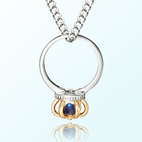 Sapphire ring crown silver necklace anti-birthstone for September