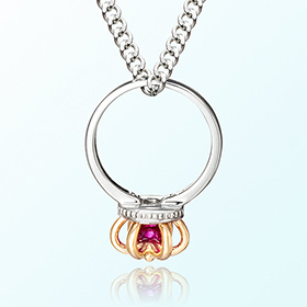 Silver ring necklace ruby ​​anti-birthstone birthstone for the month of July
