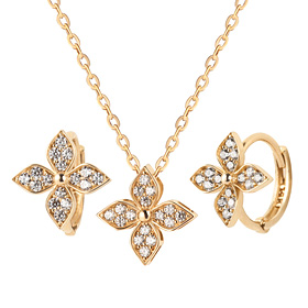 14K / 18K wind flower set [Necklace + earring]