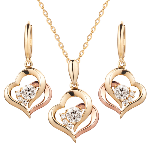 14K / 18K Same Heart set [Necklace + earring] [overnightdelivery]