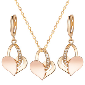 14K / 18K half heart set [Necklace + earring] [overnightdelivery]