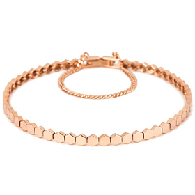 ★ Free shopping bags ★ 14k / 18k Hexagon bracelet [overnightdelivery]