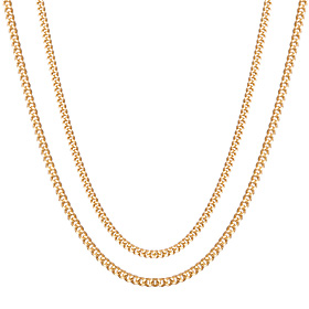 18K Men Curve Necklace Chain 2-Pack 1 (Men's)