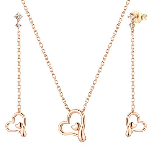 14K / 18K Peeling Love set [Necklace + earring]
