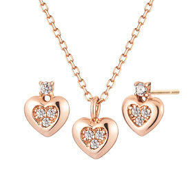 14K Yomi Heart set [Necklace + earring]