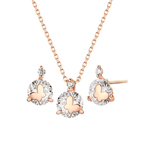 14K Shine Butterfly set [Necklace + earring]